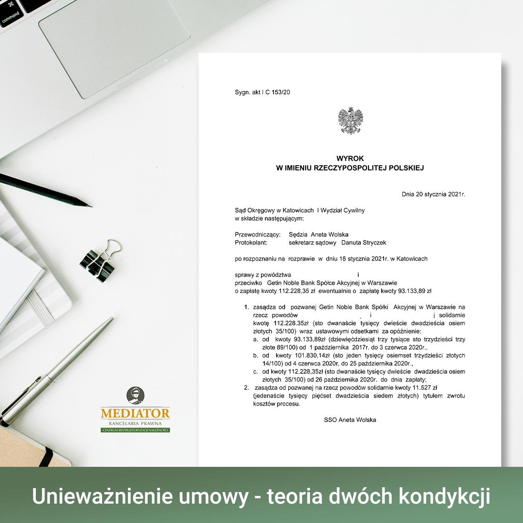 Proces sądowy o kredyt frankowy w GetinBank – umowa nieważna.